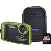 Fuji Digital Camera Finepix XP140 16.4 Megapixel Lime + 64GB SD Card + Bumper Case