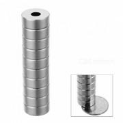 JEDX 15 * 4-4mm Cubos redondos del iman de NdFeB con el agujero redondo - Plata (10 PCS)
