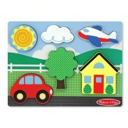 Yellow House Scene Chunky Puzzle + FREE Melissa & Doug Scratch Art Mini-Pad Bundle [37501]