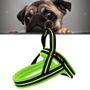 Honden A7 reflecterende Polyester borst harnas Lead leiband tractie grote honden keten touw borgkraag maat: XS 2.0 * 42 * 50 cm (groen)