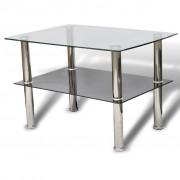 vidaXL Glass Coffee Table 2 Tiers