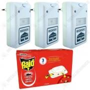 Pachet - 3 x Riddex Aparat anti-daunatori Pest Repeller + Raid capcane gandaci 6buc/cutie
