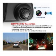 EY 1080P de doble lente coche DVR cámara WiFi Video grabadora DASH Cam 170 掳 Visión Nocturna