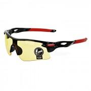 OULAIOU UV400 gafas de sol de la lente de la PC del marco del plastico - negro + rojo + amarillo