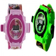 Barbie With Ben 10 Digital Pink And Green Projector 24 Different Images with Cute Kitty 24 image Toy Kids watch for girls Good Gift for your gift- Great Discount