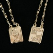 Scapular Gold Plated Jewelry Semi Jesus and God is Faithful 66cm
