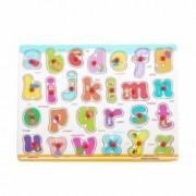 Puzzle litere din lemn Alfabetul litere mici lacuri non-toxice si finisaje de calitate