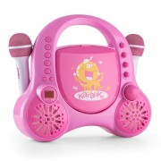 Auna Rockpocket Sistema Karaoke p/ Crianças CD AUX 2 Microfones Autocolantes Rosa