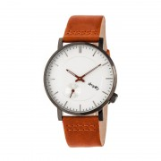 Simplify The 3600 Leather-Band Watch - Silver/Orange SIM3603