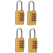 DOCOSS Set Of 4-4 Digit Brass Small Number Bag Travel Luggabe Resettable Password Safety Lock(Gold)