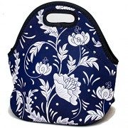 Insulated Neoprene Lunch Bag Cooler Lunch Bags for Men Women Adults Kids Waterproof Picnic Lunch Tote - Blue Flower