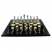 Silver and Titanium Weighted Chess Set by Dal Rossi Italy