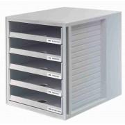 Suport plastic cu 5 sertare pentru documente, HAN - (open) - gri deschis/gri deschis