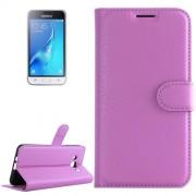 Samsung Galaxy J1 (2016) Case, J120 Case, Litchi Texture Horizontal Flip Leather Case with Holder & Card Slots & Wallet(Purple)