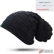 WINTER Womens WOOLEN FASHIONABLE CAP LONG BEANIE STYLE Thick - warm and Bonnet Beanie Soft Knitted Beanies Fur-(Black)