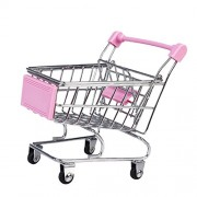 MagiDeal Kids Children Pretend Play Mini Shopping Entertainment Fun Cart Trolley Home Room Office Decor Toy Gift Pink