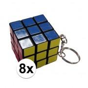 Merkloos 8x Kubus puzzels sleutelhangers - Legpuzzels