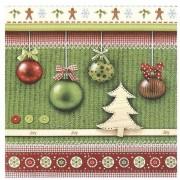 Bella 20x Kerst servetten groen met kerstballen 33 x 33 cm