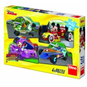 Puzzle 4 in 1 - Mickey Mouse si Minnie la cursa - 54 piese