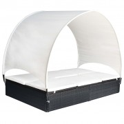 vidaXL Шезлонг-легло с навес, черен полиратан, 194x120,5x30/156 см