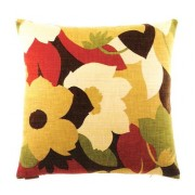 "2001-H 24"" x 24"" esprit harvest laef and flower pattern throw pillow with a feather/down insert and zippered removable cover"