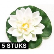 Geen 5x Witte lotus/waterlelies kunstbloemen 10 cm