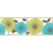 Fine Decor FDB05436S Poppie Lime and Teal Peel and Stick Border Wall Decal