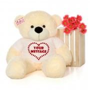 Huge 5 Feet Personalized Teddy Bear wearing Customizable Tshirt - Available in 7 Colors
