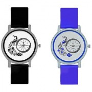 Octus Peacock Black And Blue Colour Round Dial Analog Watches Combo For Girls And Womens