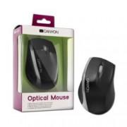 Мишка Canyon CNR-MSO01NS, оптична (800dpi), черна/сребриста, USB