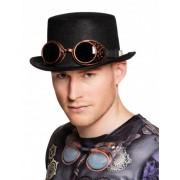 Vegaoo Steampunk hoed met bril voor volwassenen One Size
