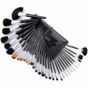 Set 32 pensule machiaj Cosmetic Par Natural-Sintetic Make-up Profesional+ Trusa Fard Pleoape + Burete Machiaj Cadou