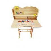 Set de studiu multifunctional format din birou si scaun pentru copii model Trenulet natur