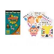 2 BOOKS of JUNGLE Tales ANIMAL - Mini STICKERS (206 each) & 4 Make a ZOO Animal Sticker Sheets - GIRAFFE Monkey...