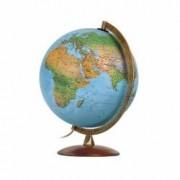 Glob Geografic Astra Iluminat Diametru 30cm Piedestal Lemn de Nuc