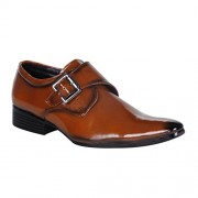 Shoe Island Premium Class Tan Brown Monk-Strap Formal Shoes