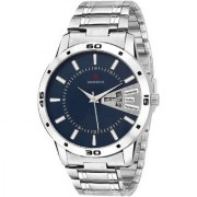 Svviss Bells Original Blue Dial Silver Steel Chain Day and Date Multifunction Chronograph Wrist Watch for Men - SB-1043