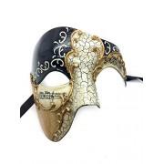 Gold Lining Black Musical Half Face Venetian Masquerade Mask Phantom Design For Men By Ppmarket
