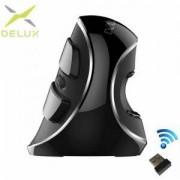 Безжична вертикална оптична мишка Delux M618 Plus, 1600 DPI, черен, M618PLUS-Wireless_VZ