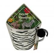 Xenos Mok met oor giftset - zebra - thee