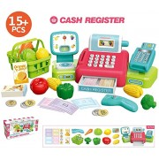 YLucy Toy Cash Register for Kids,Pretend Play Educational Toy Cash Register Grocery Toy for Boys & Girls Gift