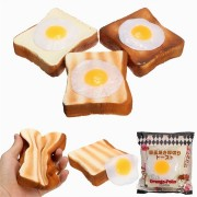 Meistoyland Squishy Bread Toast Slice With Egg Slow Rising With Packaging Gift Decor Soft Toy
