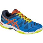 Asics GEL - GAME 5 - YL BLUE/ORG/LIME Tennis Shoes For Men(Multicolor)
