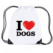 Shoppartners Nylon I love dogs/ honden rugzak wit met rijgkoord