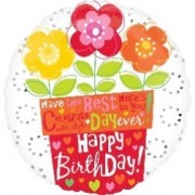 Balon folie 45 cm Birthday Flower