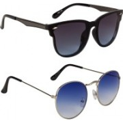 Marabous Round, Cat-eye Sunglasses(Blue, Black, Grey)