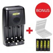 Bundle Maha MH-C204W negru - incarcator compact pentru acumulatori AA / AAA + Maha Powerex - acumulatori pre-incarcati, AA, 2600mAh, 4 bucati + cutie