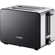 Toster TAT7203 Bosch Haushalt s ugrađenim nastavkom za pecivo plemeniti čelik, crna