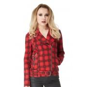 veste pour femmes printemps / automne VOODOO VIXEN - Noir / Rouge Plaid Crânes - JKA3855
