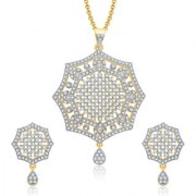 Sukkhi Soothing Gold And Rhodium Plated CZ Pendant Set For Women
